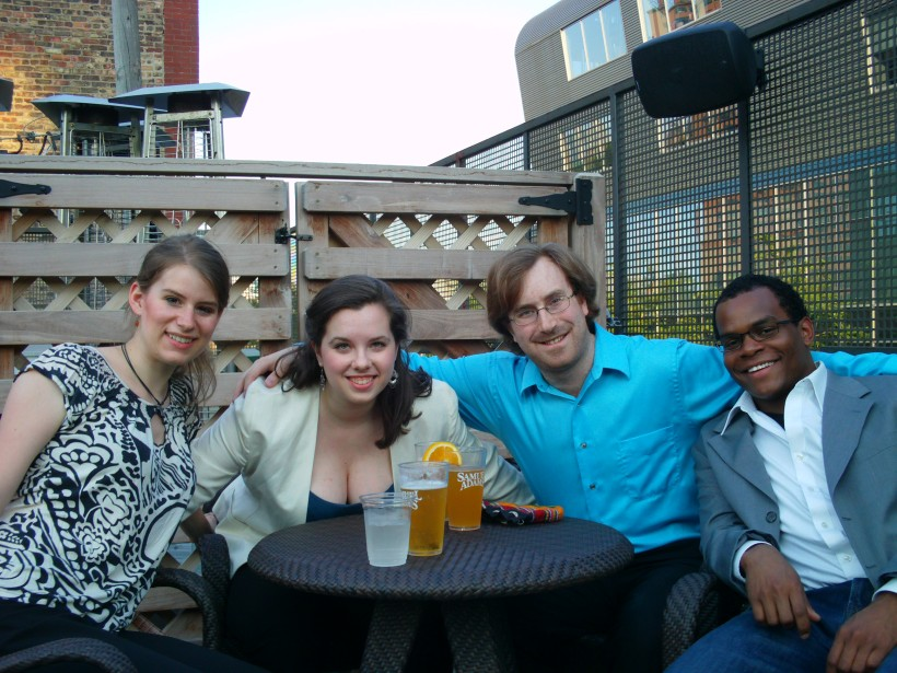 with the ensemble from Produce, Chicago, Ill. from left: Melissa Pierce, Claire DiVizio, Ezra Donner, Steven Gooden