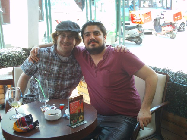 with Murat at a street cafe in Istanbul