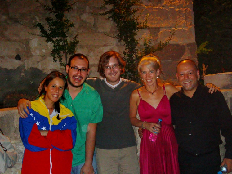 with the quartet from the Turkish premiere of Mountain Suite (2011) in Kapadokya, Turkey from left: Beril Sun, Meriç Esen, Ezra Donner, Heidi Hoffman, Orhan Ahıskal